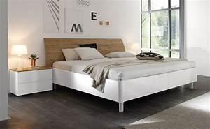 Modernes Bett 180x200 : doppelbett bett 180 x 200 cm weiss hochglanz lack eiche natur tambio28 modernes m beldesign ~ Watch28wear.com Haus und Dekorationen