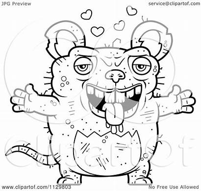 Rat Ugly Cartoon Clipart Coloring Outlined Loving