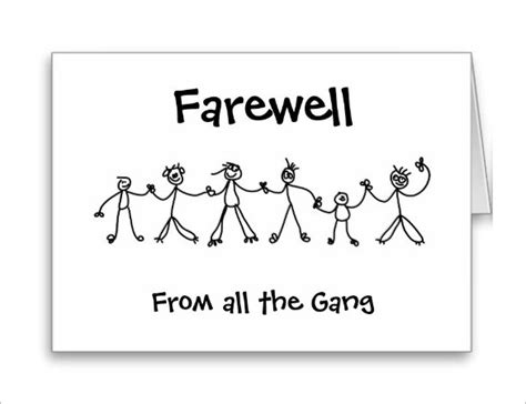 farewell card template picture farewell card