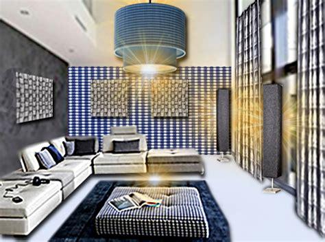canapé cercle idée déco un salon vichy bleu et blanc floriane lemarié