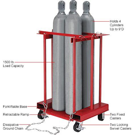 global industrial forkliftable cylinder storage caddy mobile   cylinders
