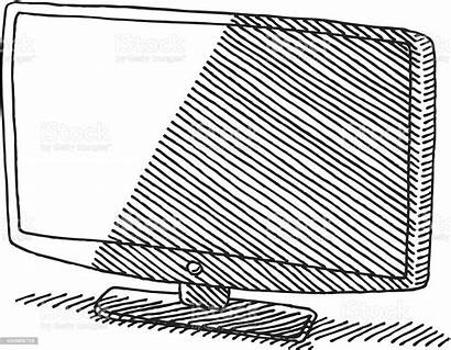 Tv Drawing Flat Panel Vector Istock Illustration