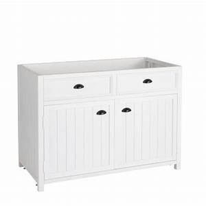 Meuble Bas Cuisine Blanc : meuble bas de cuisine en bois blanc l 120 cm newport ~ Teatrodelosmanantiales.com Idées de Décoration