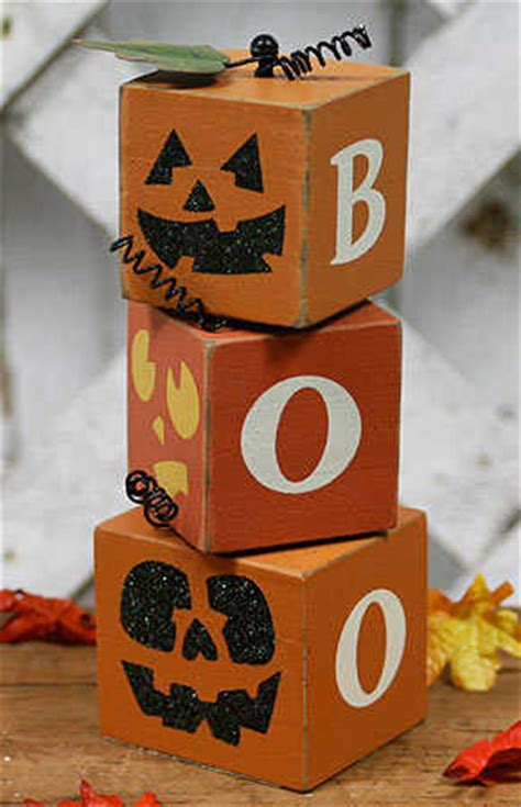 primitive wood boo halloween block set table