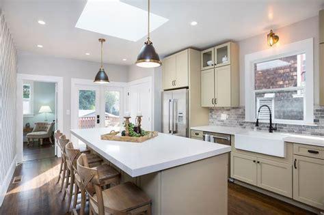 contemporary kitchen  breakfast bar skylight stone