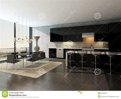 cuisine avec table à manger intérieur noir de cuisine avec les tabourets de bar et la