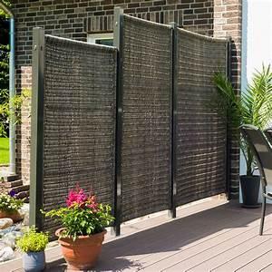 Sichtschutzwand polyrattan geflecht oland vertikal grau for Garten planen mit natur sichtschutz balkon