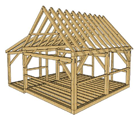 Post And Beam Shed Plans by 16x20 Timber Frame Cabin With Lean To Timber Frame Hq