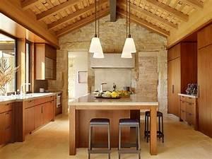 deco pierre pour les murs de la cuisine en 49 exemples With idee deco cuisine avec table en pierre