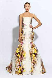 monique lhuillier wedding dress ivory mermaid floral With printed wedding dress