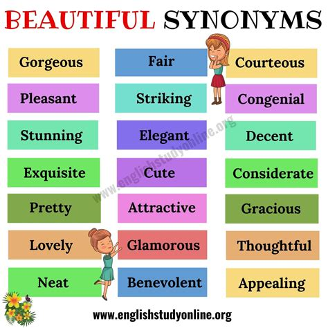 beautiful synonyms list   helpful synonyms