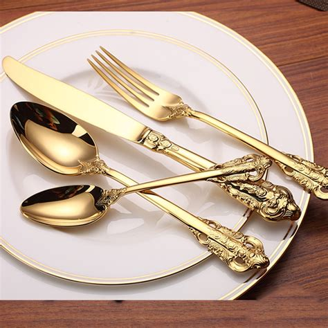 gold cutlery luxury flatware plated dinner stainless steel golden knife fork pieces quality dinnerware spoon dining wedding wholesale tea sets