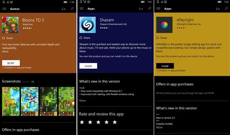 windows store for mobile windows 10 store app listings now different color