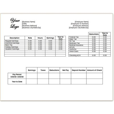word  excel pay stub template