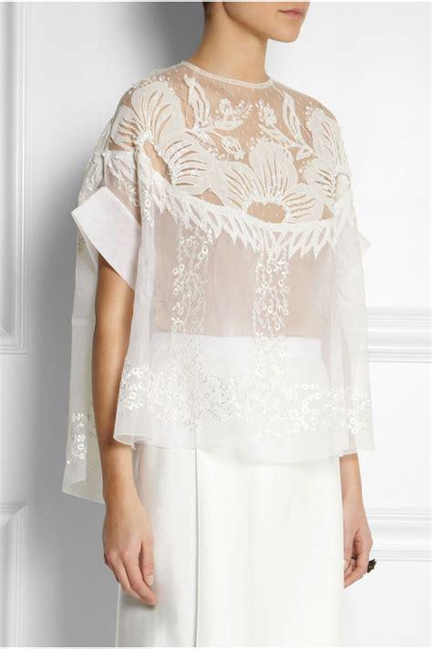 biyan solana embroidered silk blend organza top net