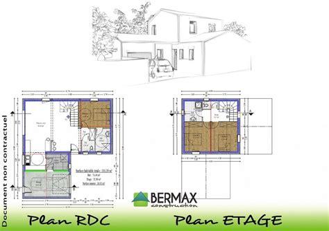 plan maison etage moderne mc immo