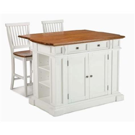 homedepot kitchen island home styles kitchen island in white with oak top and two
