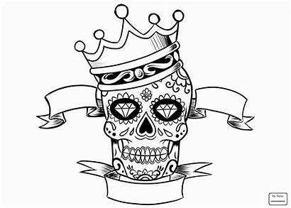 Coloring Skull Pages Adult Adults Crown