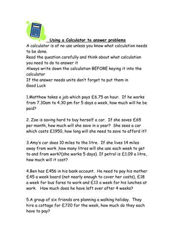 maths calculator problems ks3 worksheet by kctr teaching resources