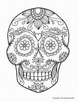 Coloring Skull Cool Sugar Printable Adults Getcolorings sketch template