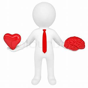 3d Man Holding A Heart And A Brain  Isolated Render On A