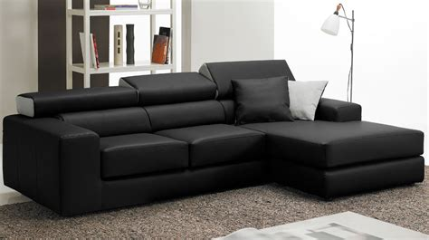 canapé d angle convertible cuir noir canapé d 39 angle en cuir noir haut de gamme angle réversible