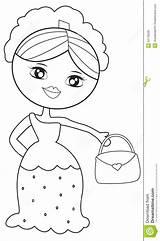 Coloring Lady Handbag Useful Illustration Dreamstime sketch template