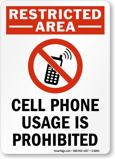 do not call cell phone cell phones prohibited signs smartsign