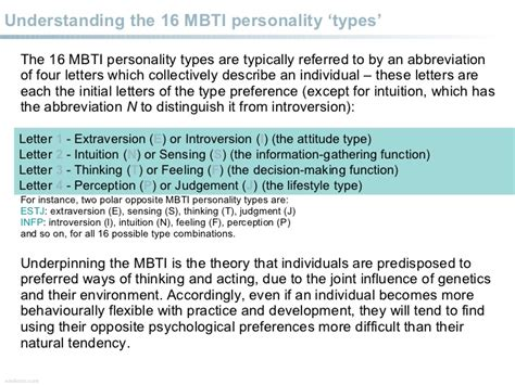 Myers-briggs Type Indicators Overview