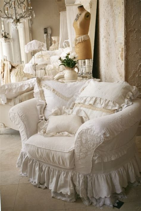 white slipcover cottage shabby chic