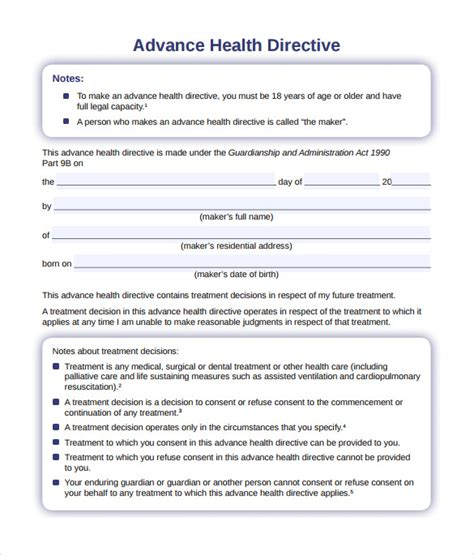 Advanced Directive Template by 10 Sle Advance Directive Forms To Sle
