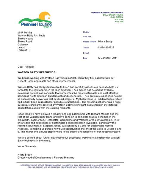 pennine housing  reference letter