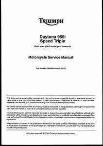 Triumph Daytona 955i Speed Triple Workshop Manual 2002