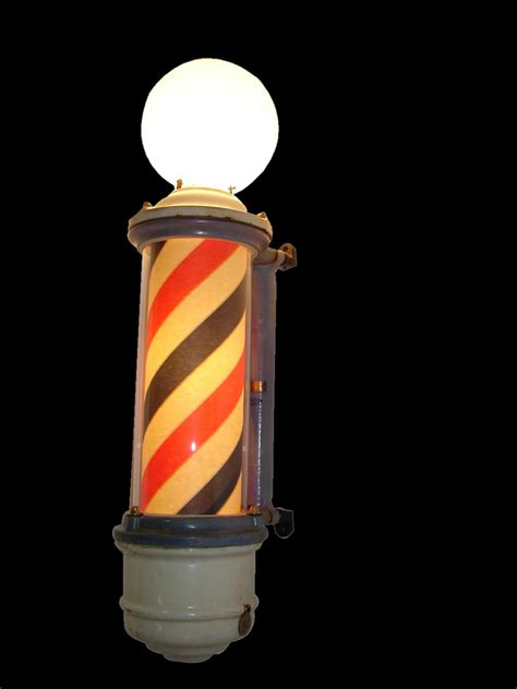 turn of the century porcelain barber shop light up pole by