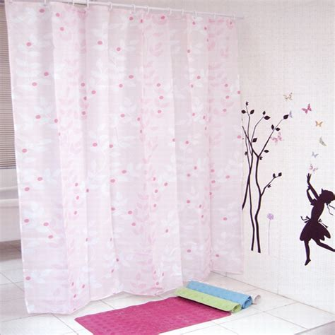 pink shower curtains pink shower curtain for your bathroom with leaf pattern