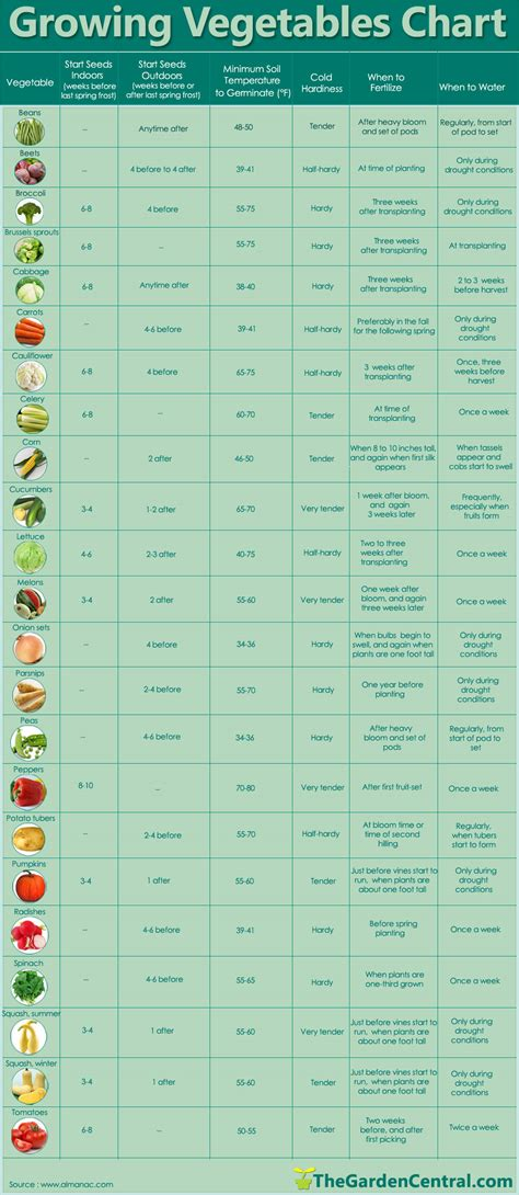 growing   vegetables  chart   year