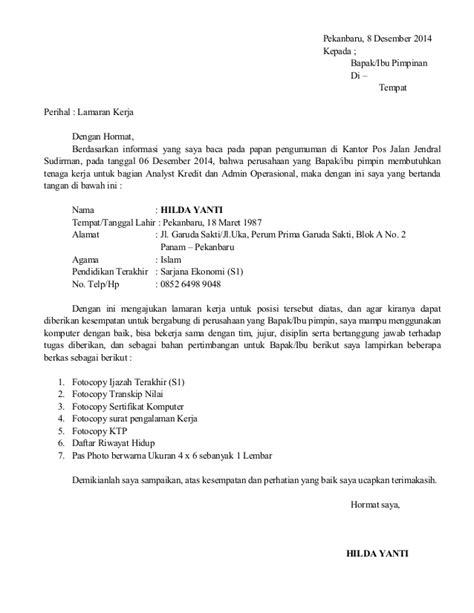 Contoh Kepala Surat Lamaran Kerja by Contoh Surat Lamaran Kerja Pegawai Pos Melamar