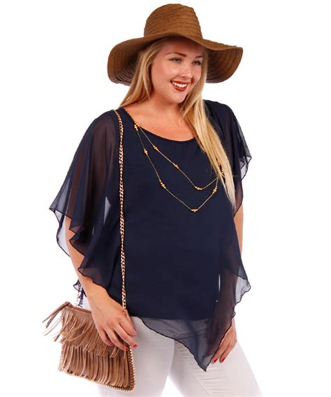 chiffon blouse plus size plus size layered navy chiffon blouse with necklace