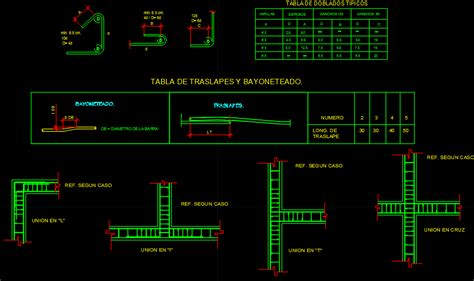 overlaps tables  steel bayoneados dwg block  autocad