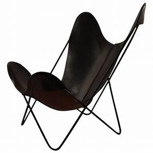 Butterfly Chair Original : slick original hardoy butterfly in black leather for sale at 1stdibs ~ Sanjose-hotels-ca.com Haus und Dekorationen
