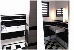 Carrelage Salle De Bain Blanc : salle de bain carrelage noir et blanc ~ Melissatoandfro.com Idées de Décoration