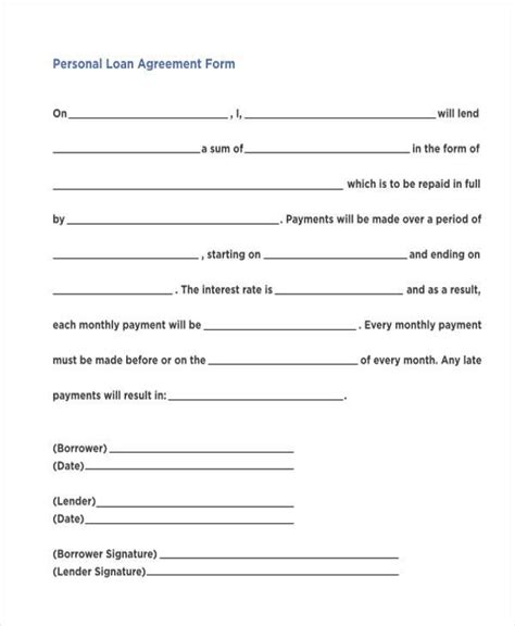 personal loan agreement forms   ms word