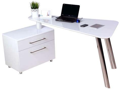 bureau blanc laqu bureau 140 cm caisson 2 tiroirs travis coloris blanc