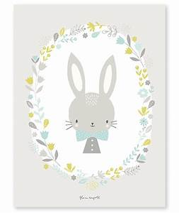 affiche bebe enfant lapin garcon With affiche chambre bébé avec bouquet de fleurs Á imprimer