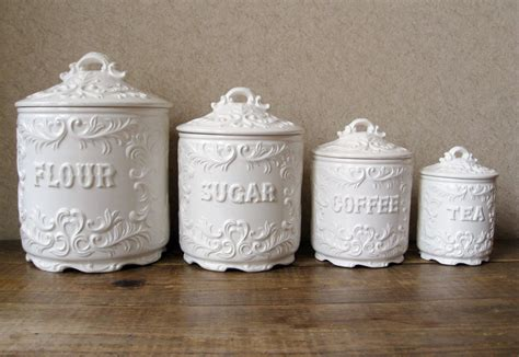 kitchen canister set vintage canister set antique white with ornate details