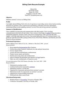 resume objective exles for billing and coding billing resume student resume template