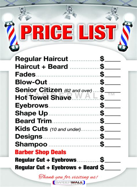 barber shop price list by barbewall barber poster 24 x