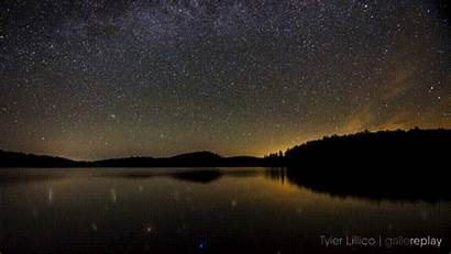 Sky Starry Lake Clear Calm Cinemagraph