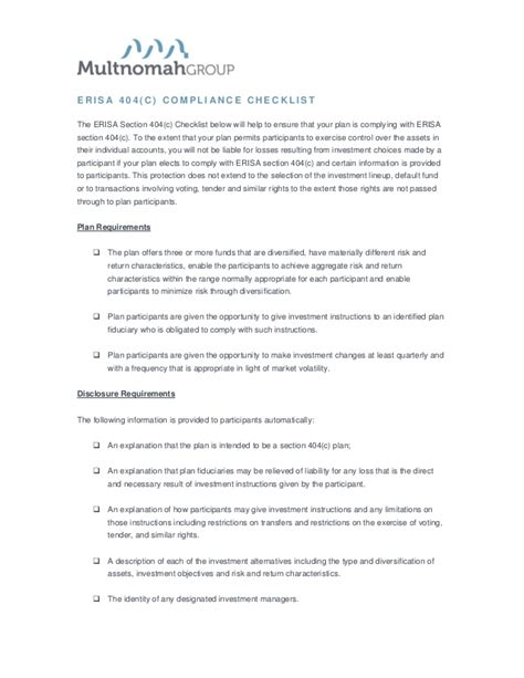 erisa section 404 c summary of erisa 404 c requirements