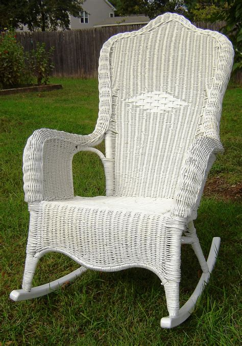 vintage white wicker rocking chair by seasidefurnitureshop